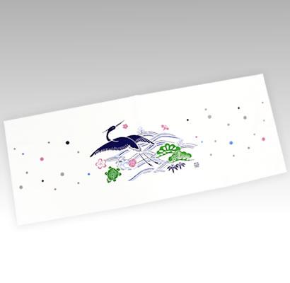 松竹梅と鶴(藍染め風)